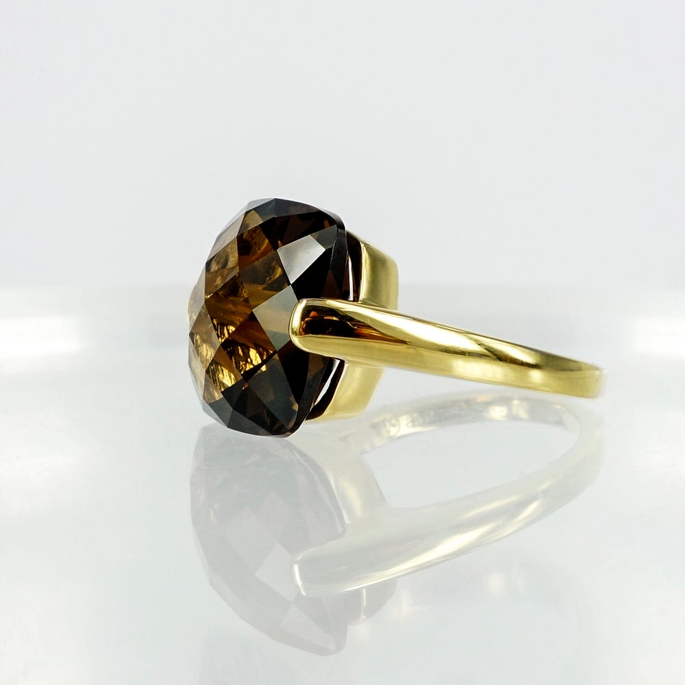 Image of Sterling Silver, Yellow Gold Ring - Set with Smokey Quartz
