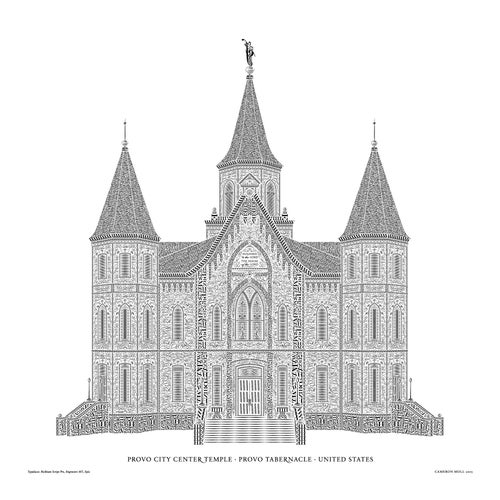 "Image of Provo Tabernacle 16""x16"" Signed Letterpress Poster (Provo City Center Temple)"