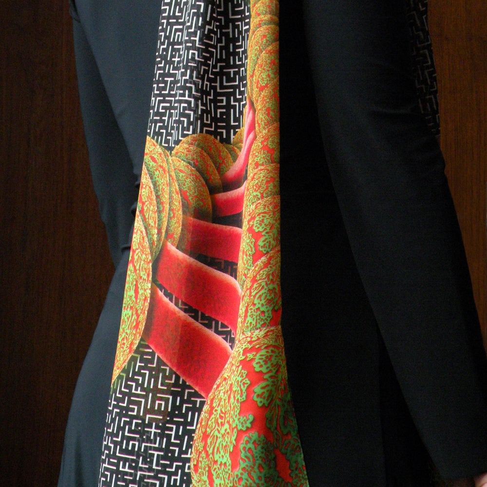 Image of Digitally printed silk scarf DNA