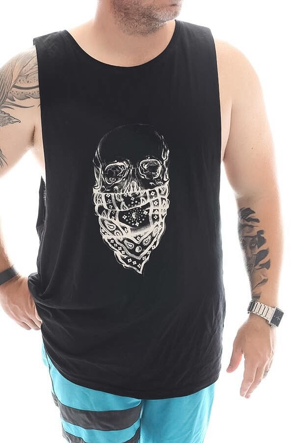 Image of Skull Muscle Singlet (Unisex Black)