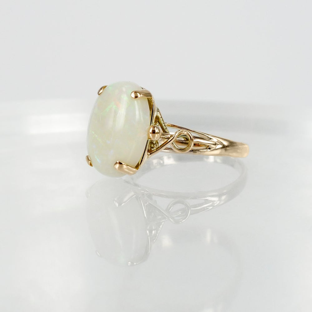 Image of 14ct Yellow Gold Opal Cocktail Ring