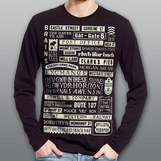"Image of Black ""Signs of Cardiff"" Men's Long Sleeve T-shirt"