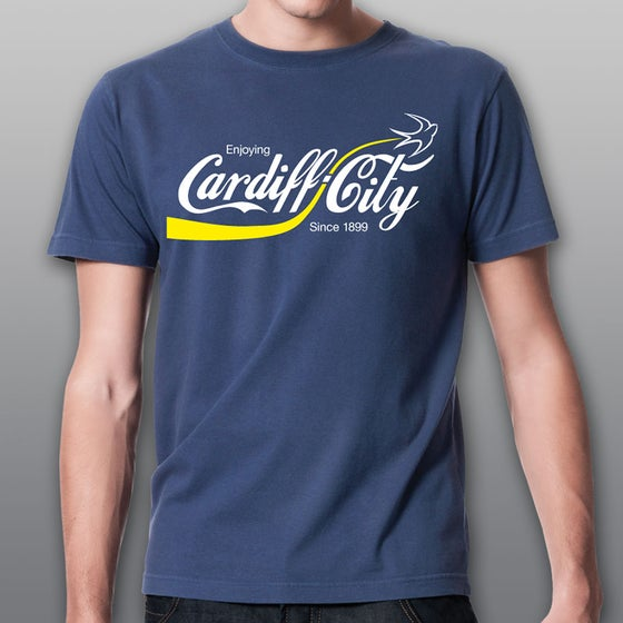 "Image of Blue ""Enjoying Cardiff City"" Men's T-shirt"
