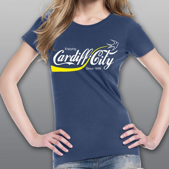 "Image of Blue ""Enjoying Cardiff City"" Woman's T-shirt"