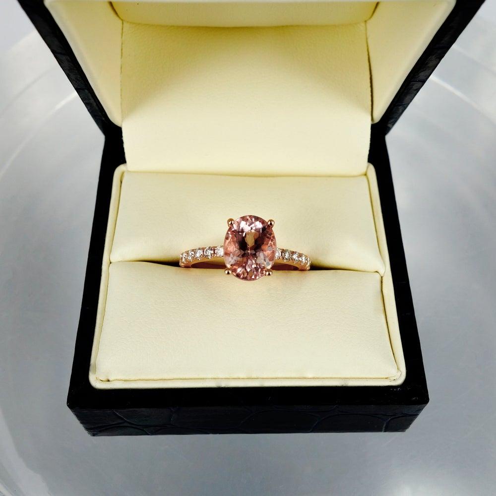Image of 18ct Rose Gold Morganite and Diamond Dress Ring