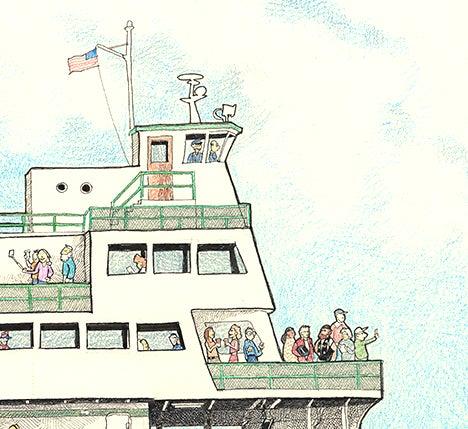 """Image of Washington State Ferry 13"""" X 16"""""""