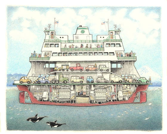 "Image of Washington State Ferry 13"" X 16"""
