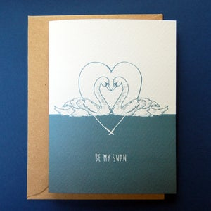 Image of Be My Swan Romantic Card Valentine's Anniversary in Blue