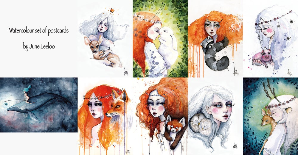Image of Watercolor postcards set