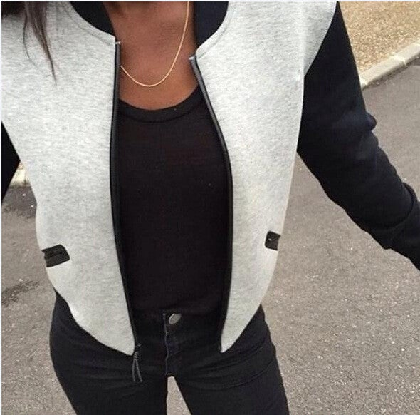 Image of Fashion stitching zipper jacket  7859321