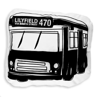 Image of 470 Bus Shaped Cushion - Black on White
