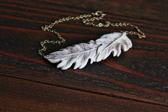 Image of Oak Leaves - Bib Pendant Necklace