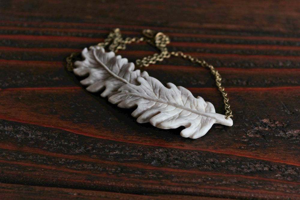 Image of Oak Leaves - Bib Pendant Necklace
