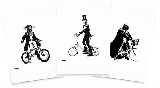 Image of Bristol Cyclists - Blackbeard/Brunel/DarthVader Digital A3 print