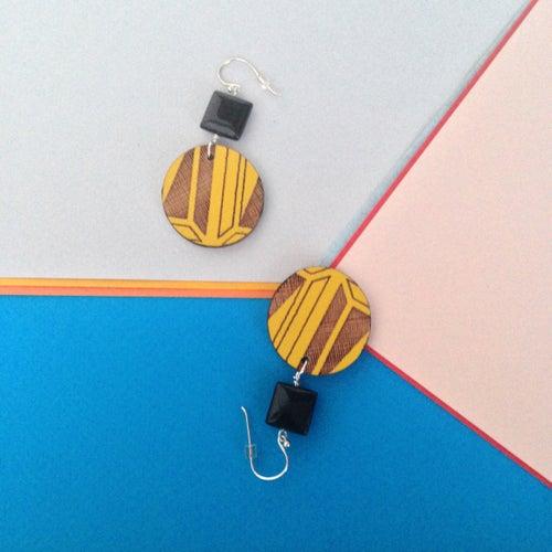 Image of segment tile drop wooden danglers (various colours)