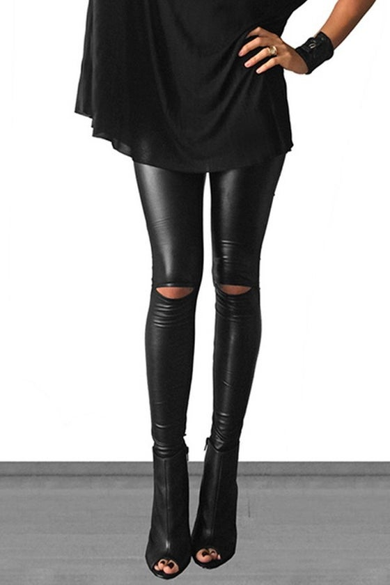 Image of Faux Leather Legging with Knee cut outs