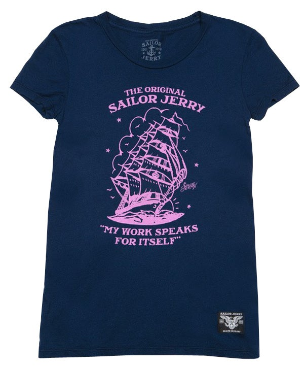 Image of Sailor Jerry Women's Tee - Homeward Bound (Navy/Pink)