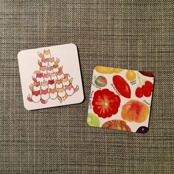 Image of fox + tomato coasters
