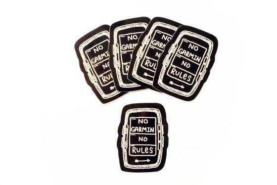 "Image of ""No Garmin No Rules"" Sticker 5-pack"