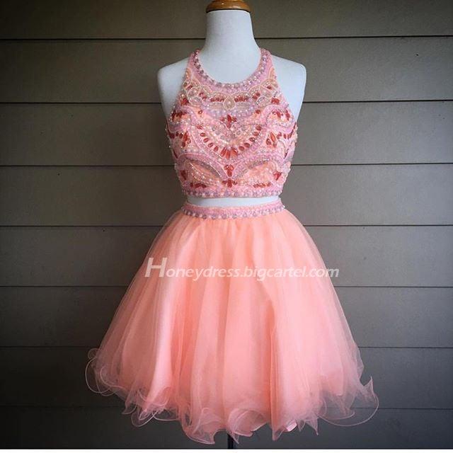 Image of Pink Tulle Beading Falbala Halter Neck Cocktail Dress