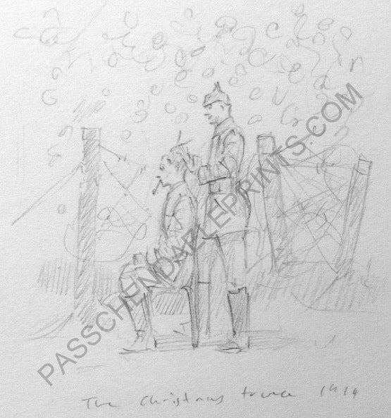 Image of The Christmas Truce 1914 original drawing The Haircut