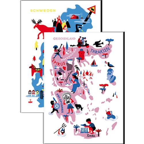 Image of Paket Poster Griechenland + Schweden