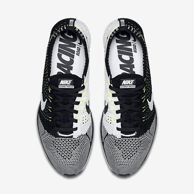 ... Image of Nike Flyknit Racer Black White Volt ...