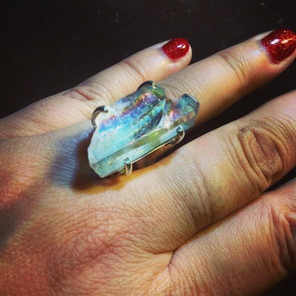 Image of Twin Soul/Tantric Twin Angel Aura Quartz Crystal (Sterling Silver)