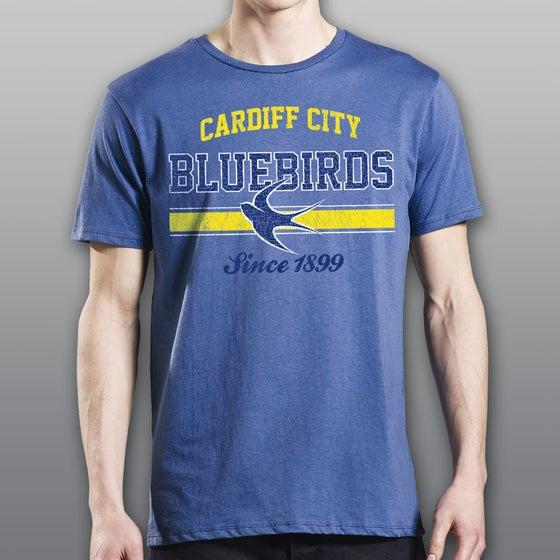 "Image of Faded Denim ""Bluebirds"" Men's T-Shirt"