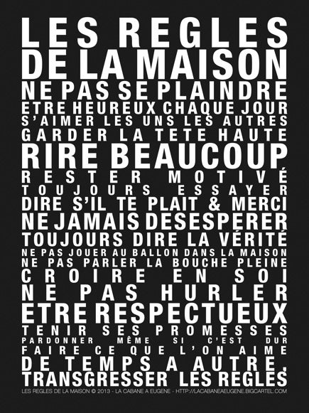 """Image of Affiche """"Les Règles de la Maison"""" SOLDE -30%"""
