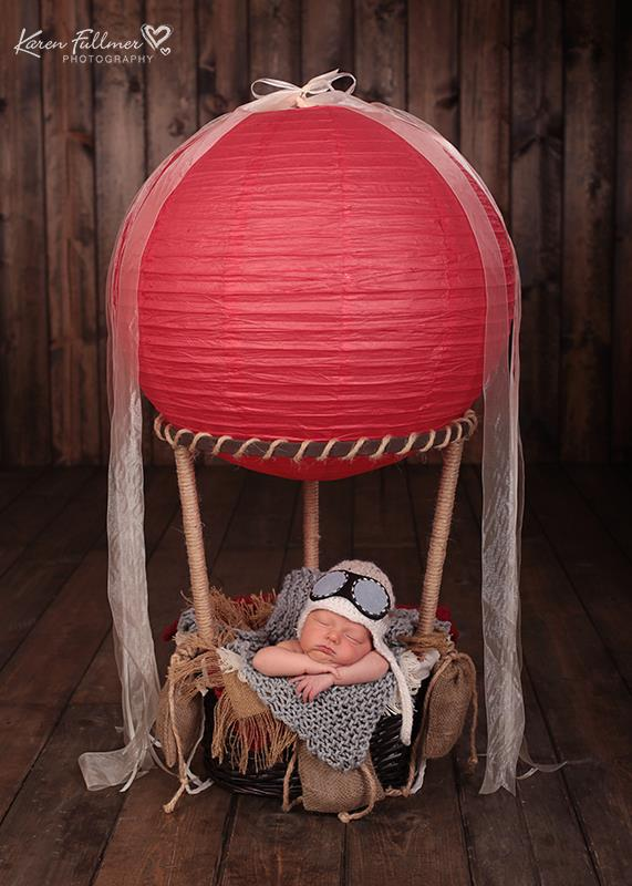"""Image of """"Little One's"""" Hot Air Balloon Basket with 3 Sand Bags ~ Another Woodsy Wonders Original!"""