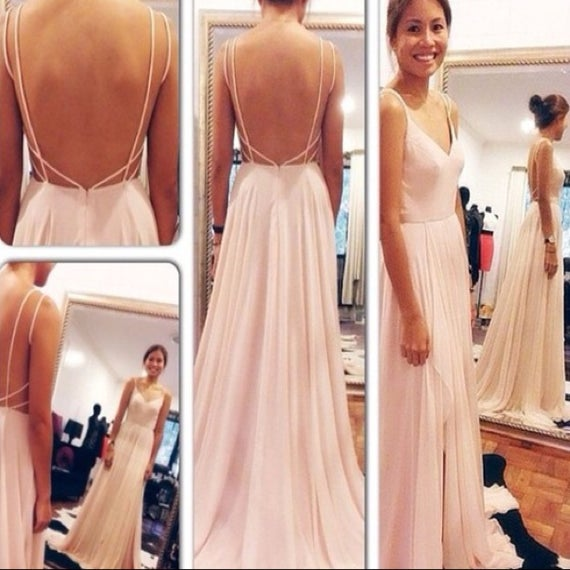 Pretty handmade spaghetti straps v neck pink backless prom for White after wedding party dress