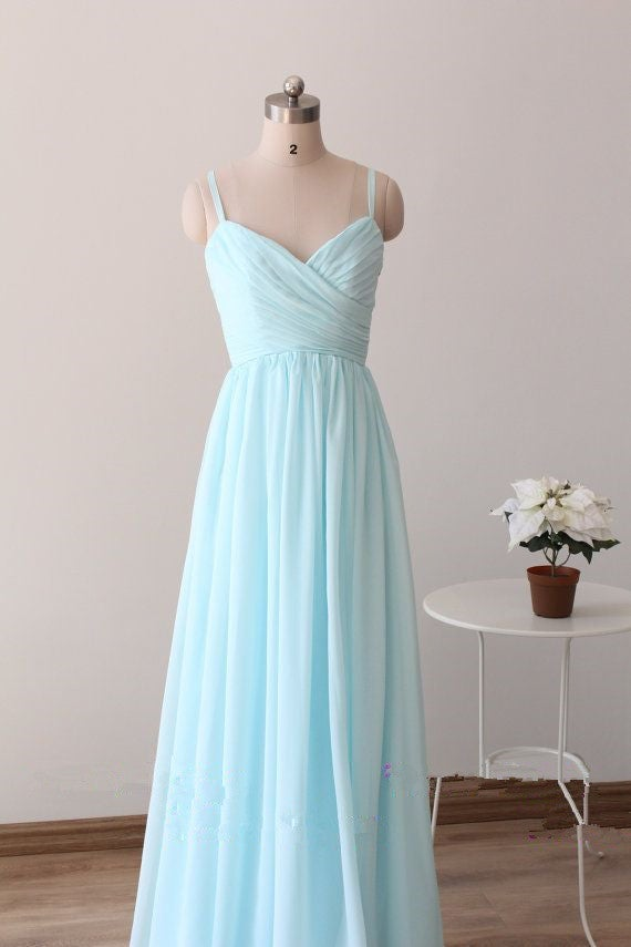 Beautiful Simple Blue Straps Long Prom Gowns, Light Blue ...