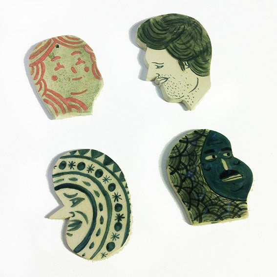 Image of Bigger than the other Ceramic Heads (What are they chatting about?)