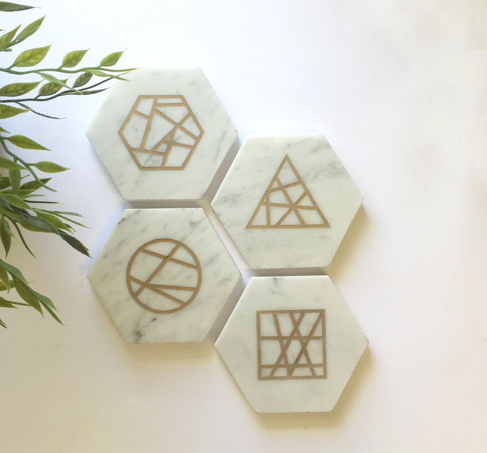 Image of Laser Etched Marble Coasters  {Geo}