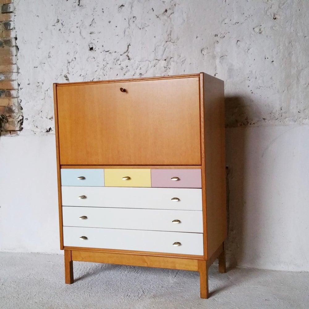 Image of Petit secrétaire vintage en bois massif