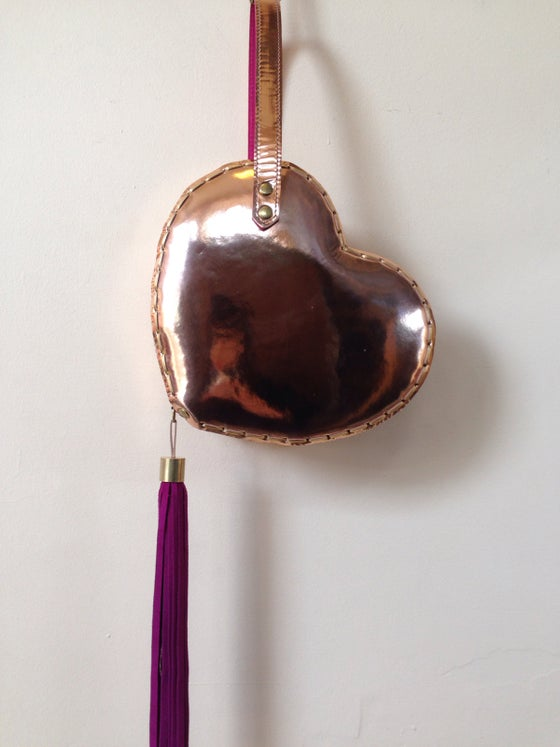 Image of Heart bag in Rose gold mirror metallic leather