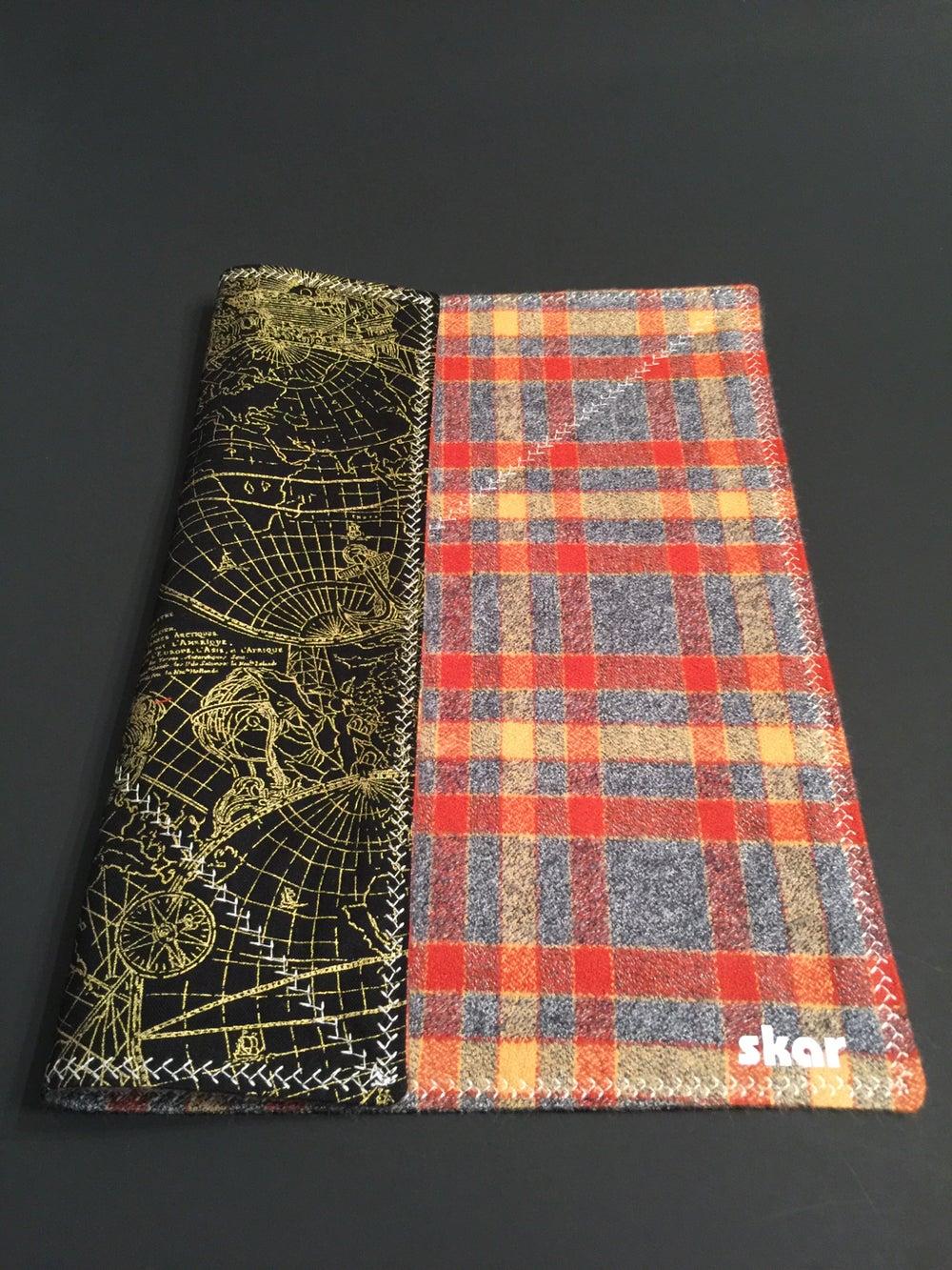 Image of Grey/Orange flannel with dark maps