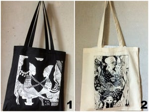 Image of Tote Bag with original Nneka painting (natural or black)