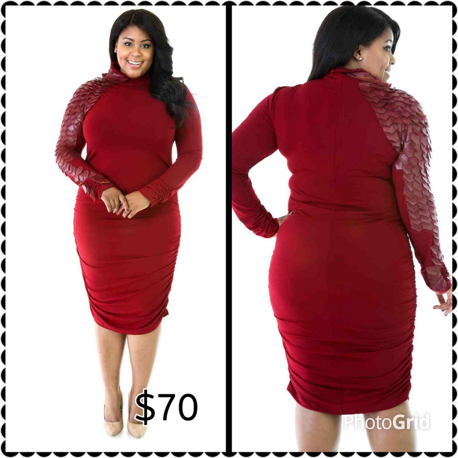 Image of Burgundy Scale Me Down Dress