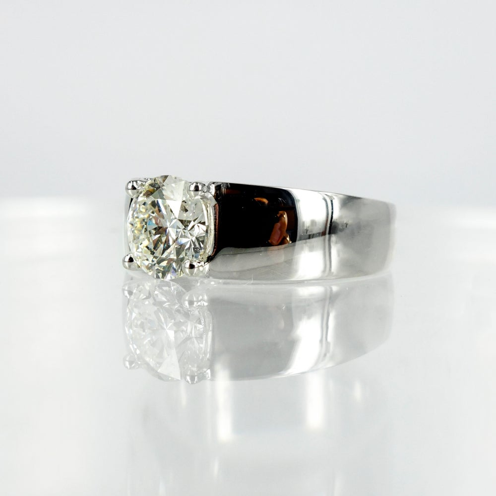 Image of Modern Floating Solitaire Diamond Ring