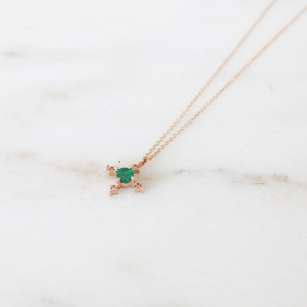 Image of Ella Cross Emerald Necklace