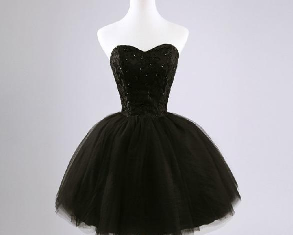 Cute Short Tulle Ball Gown Black Prom Dresses , Little Black ...