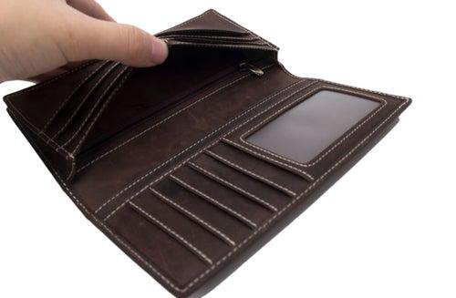 Image of Handmade Genuine Leather Wallet Men Long Wallet Money Purse Card Holder 196-1