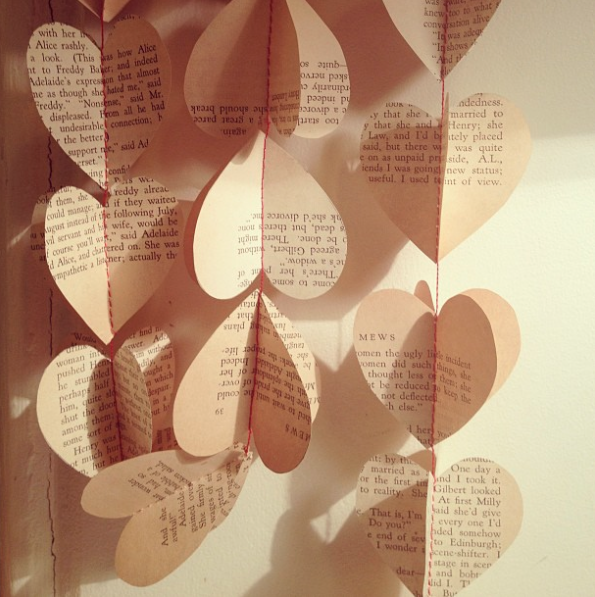 Image of String of Hearts - vintage book papers