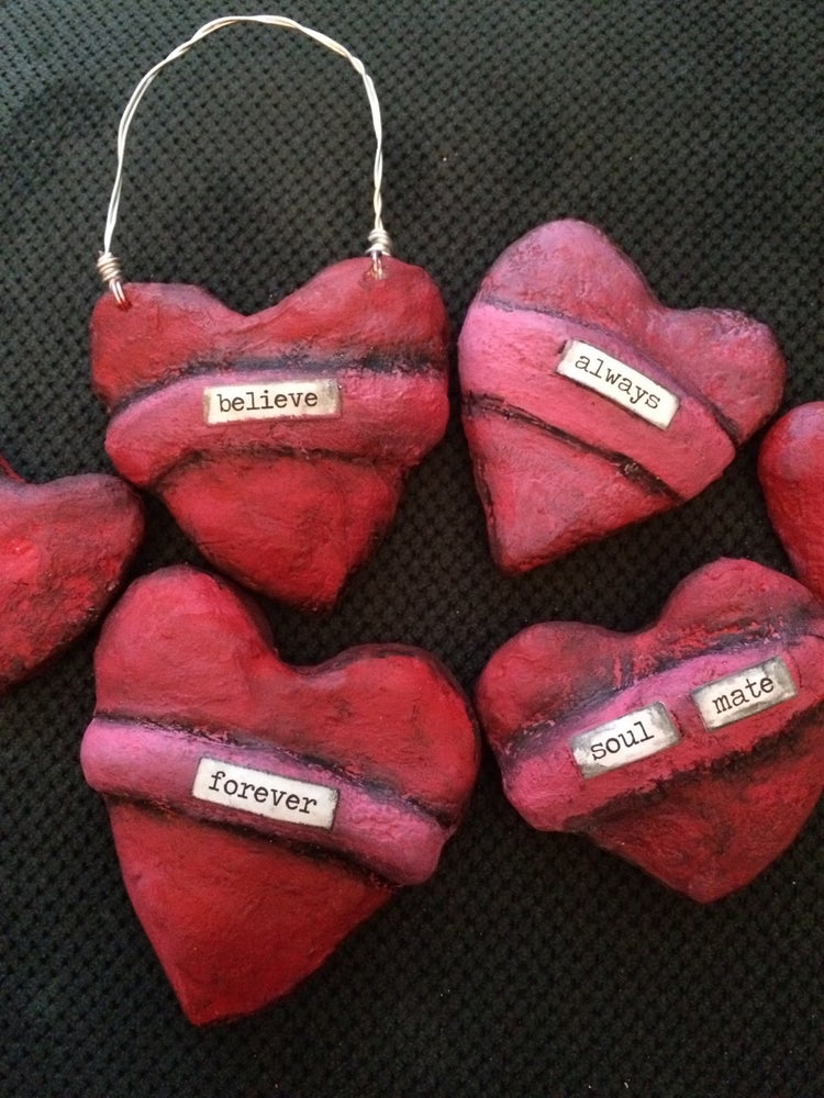 Image of Paper Mache Word Hearts