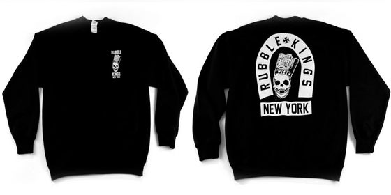 Image of Rubble Kings Black Skull NY Sweatshirt