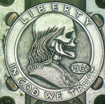 Image of Franlkin Half Dollar Skull