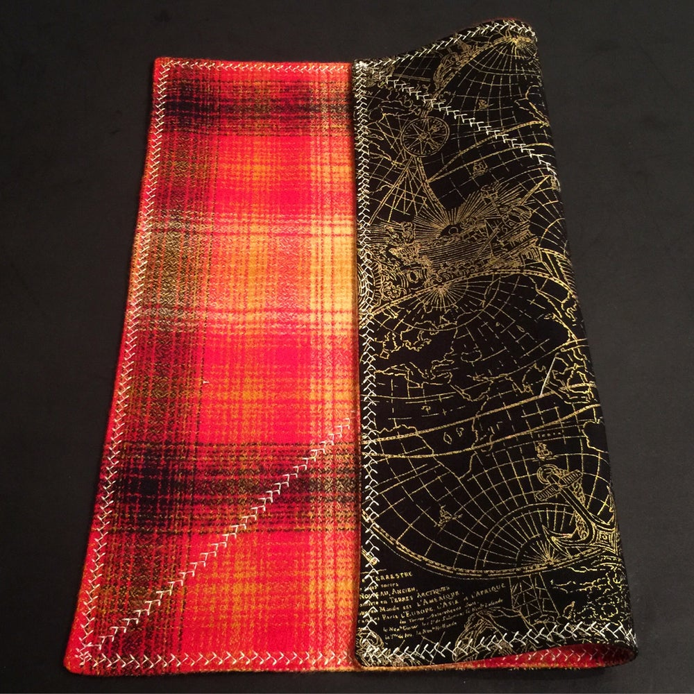 Image of Red and Orange Flannel with maps