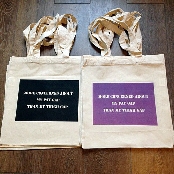 Image of 'More concerned about my pay gap than my thigh gap' tote bag